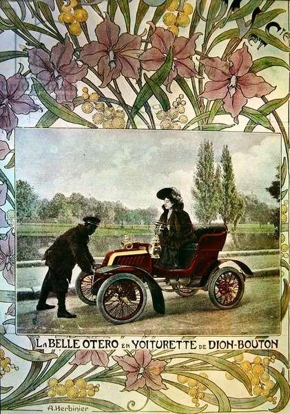 La Belle Otero at the wheel of a De Dion-Bouton car, c.1900 (colour litho)