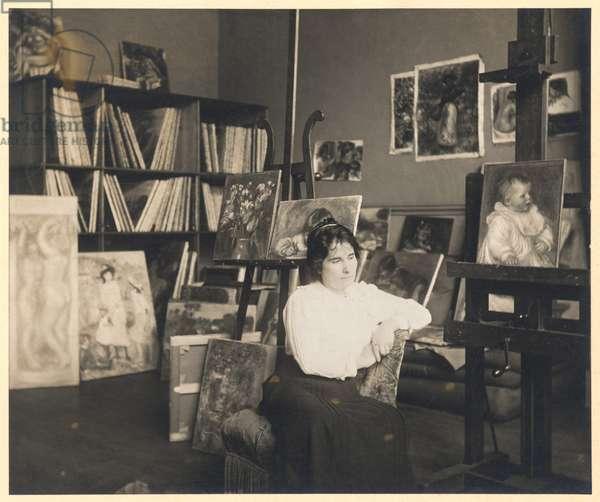 Portrait of Gabrielle Renard (1878-1959) (b/w photo)