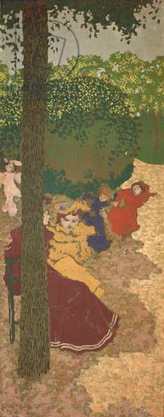 The Public Gardens: Young Girls Playing, 1894 (distemper on canvas)