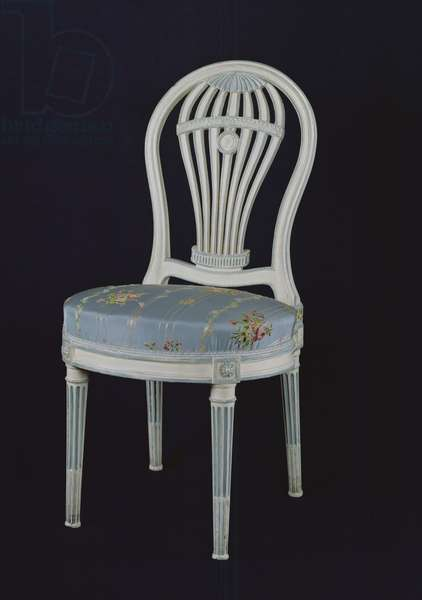 Chair with back in the shape of a Montgolfiere, 18th century (painted wood & silk)