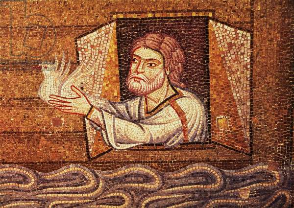 The Flood, from the Atrium, detail of Noah releasing the white dove (mosaic)