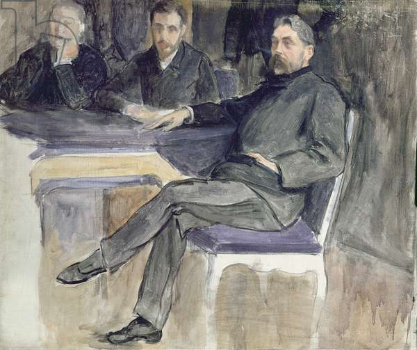 Study for a Portrait of Stephane Mallarme (1842-98) and his Friends from 'La Revue Independante', 1889 (oil on canvas)
