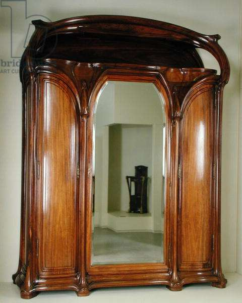 Wardrobe with a central mirror, c.1900 (acacia)