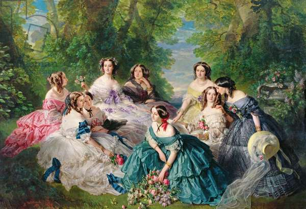 Empress Eugenie (1826-1920) Surrounded by her Ladies-in-Waiting, 1855 (oil on canvas)