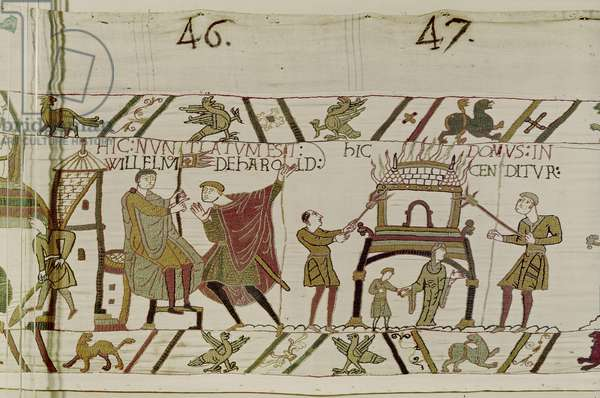 News concerning Harold being brought to William and a house is burnt by the Normans, Bayeux Tapestry (wool embroidery on linen)