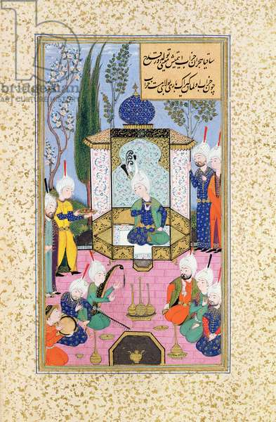 Ms B-284 Fol.33b The Court of the Sultan, illustration from 'The Divan of Sultan Husayn Bayqara', c.1540 (gouache on paper)