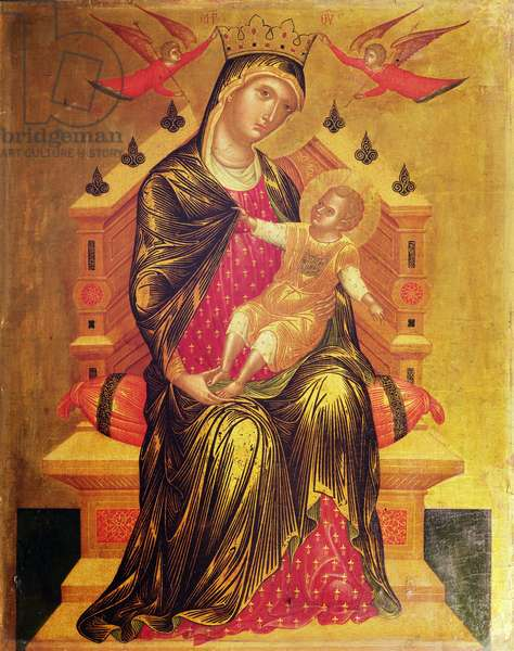Madonna and Child enthroned with two angels (tempera on panel)