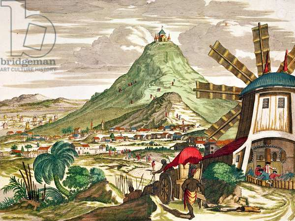 View of Potosi in Bolivia (coloured engraving)