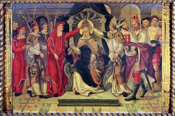 Coronation of Pope Celestine V (c.1215-96) in August 1294 (oil on panel)