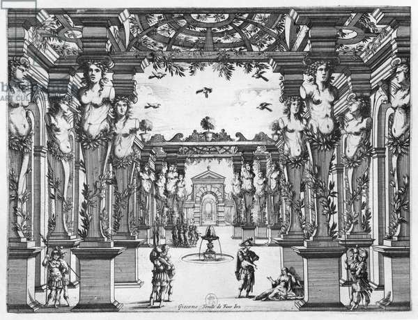 Stage design by Giacomo Torelli (1608-78) for 'Mirame' performed in 1641 at Theatre Petit Bourbon in Paris (engraving) (b/w photo)