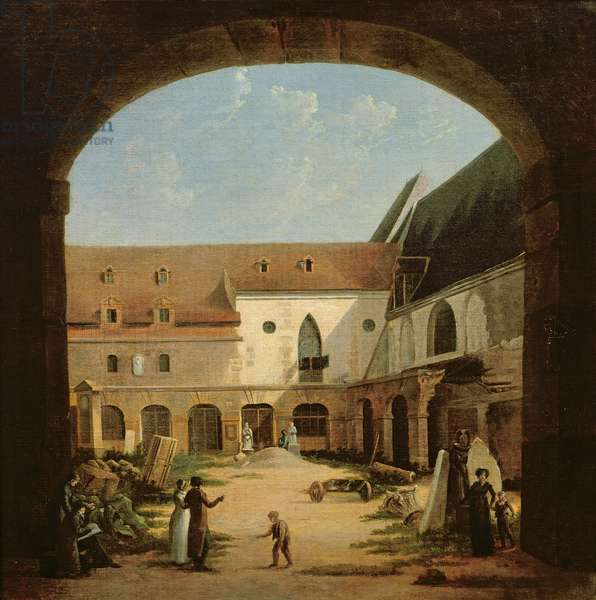 The convent courtyard of Petits-Augustins in Paris, c.1818 (oil on canvas)