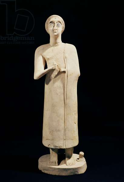 Statue of the Great Goddess, from Tell Asmar, 2800-2300 BC (stone)