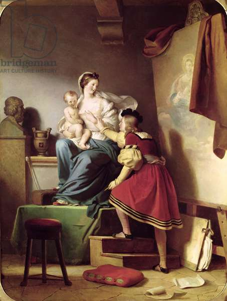 Raphael Adjusting his Model's Pose for his Painting of the Virgin and Child (oil on canvas)