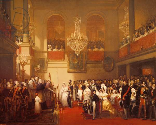 Wedding of Leopold I (1790-1865) to Princess Louise of Orleans (1812-50) at Compiegne, 9th April 1832 (oil on canvas)