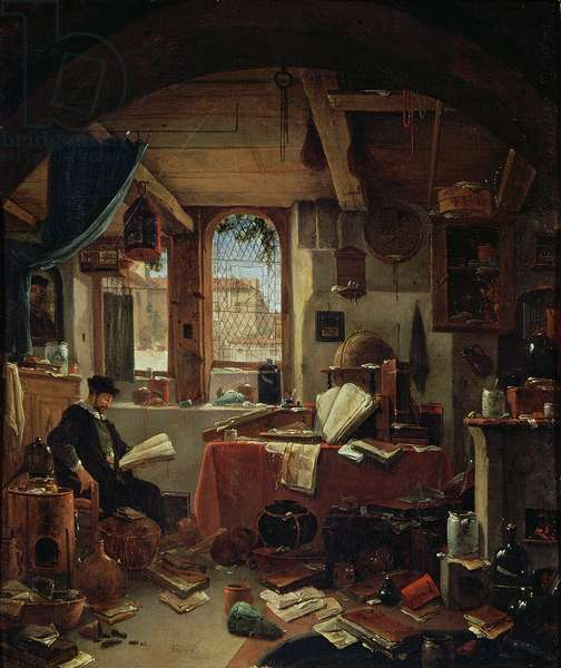 An Alchemist in his Laboratory (oil on canvas)