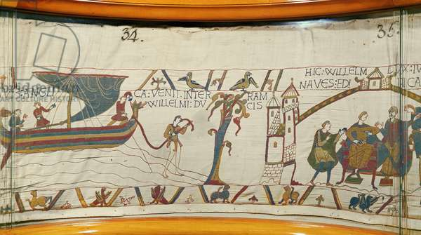 A ship lands in Normandy bringing news of Harold's coronation, Bayeux Tapestry (wool embroidery on linen)