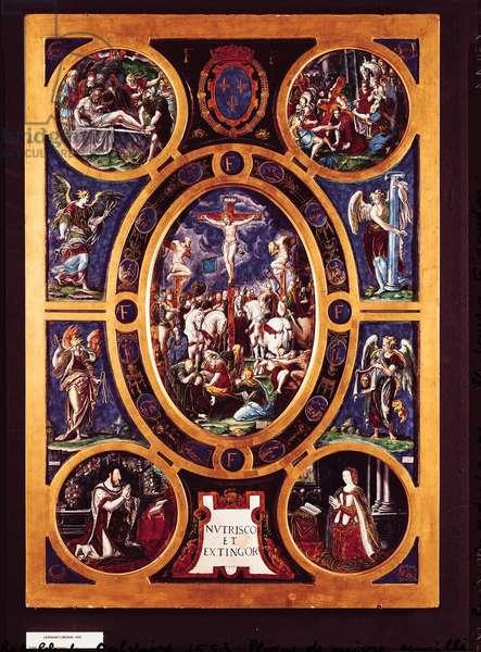 Altarpiece of Sainte-Chapelle, depicting the Crucifixion, enamelled by Leonard Limosin (1505-76) 1553 (enamelled brass)