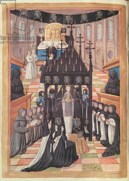 Fol.12v  Passing out of Anne of Brittany (1477-1514) at the Church of Saint-Saveur de Blois, 1515 (vellum)