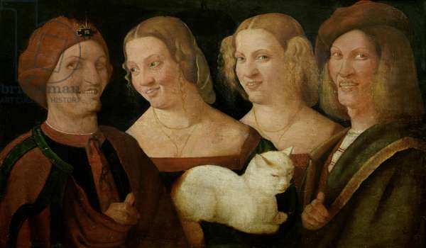 Four People Laughing at the Sight of a Cat (oil on canvas)