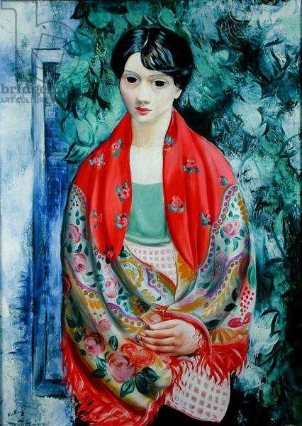 Woman with a Polish Shawl (oil on canvas)