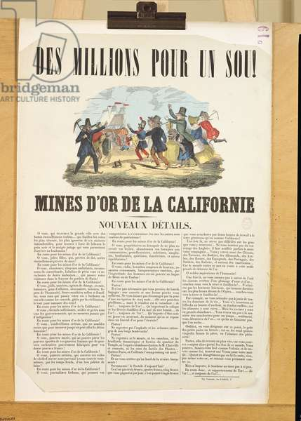 Poster advertising the gold mines in California (colour engraving)
