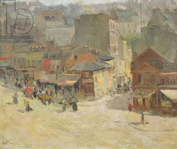 Street scene in Montmartre (oil on canvas)