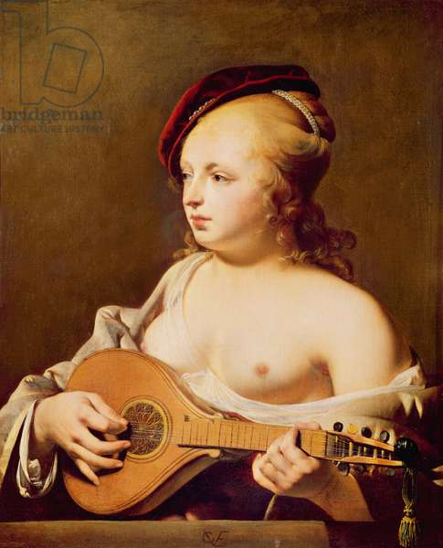 The Cittern Player (oil on canvas)