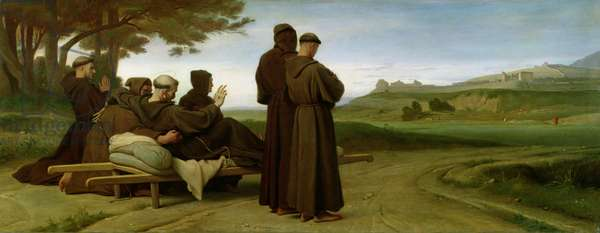 St. Francis of Assisi, while being carried to his final resting place at Saint-Marie-des-Anges, blesses the town of Assisi in 1226, 1853 (oil on canvas)