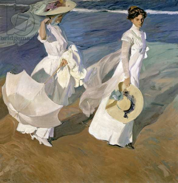 Strolling along the Seashore, 1909 (oil on canvas)