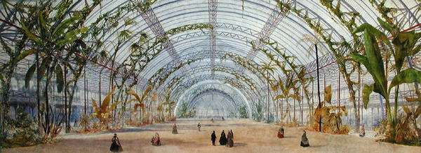 Interior design for a crystal palace in the Parc de Saint-Cloud, c.1860-62 (crayon, pencil & w/c on paper)