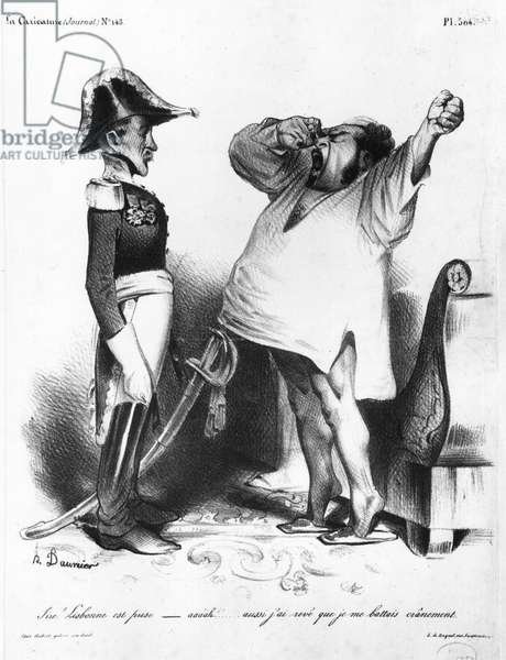The Count of Villaflor telling Pedro I (1798-1834) Emperor of Brazil and King of Portugal that he has recaptured Lisbon, from 'La Caricature', N 145, 1833 (litho) (b/w photo)