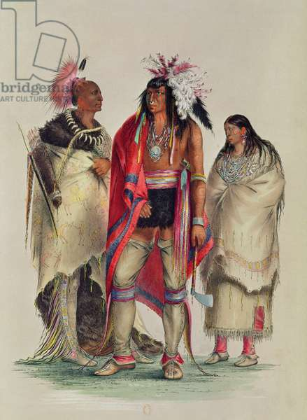 North American Indians, c.1832 (coloured engraving)