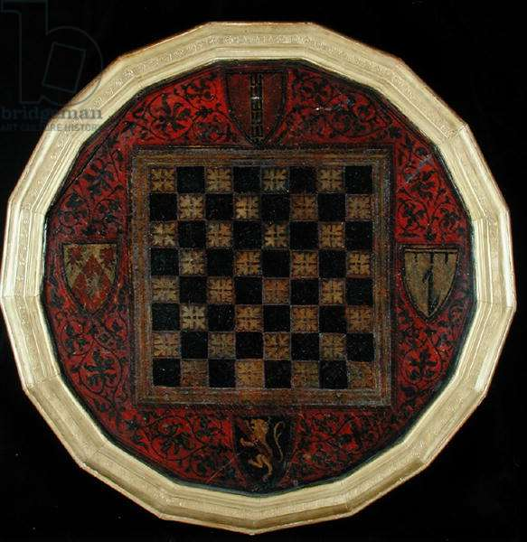 Chessboard with four coats of arms, c.1400-30 (oil on panel)