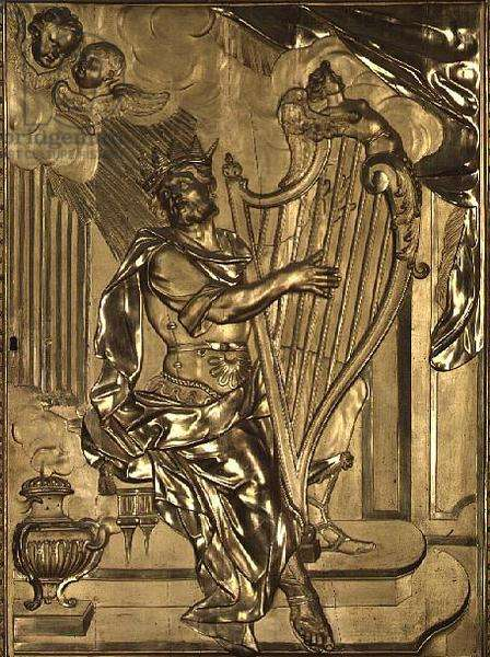 David playing the harp, detail from the organ case in the Chapel (gilded wood)