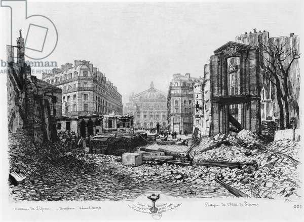 Building of Avenue de l'Opera, last demolitions, 1876 (engraving) (b/w photo)
