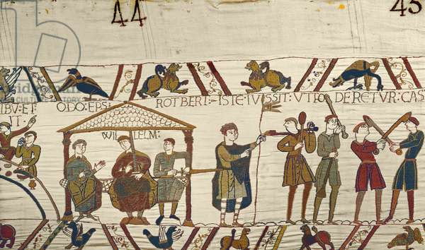 William, with Robert de Mortain and Bishop Odo orders fortifications to be built at Hastings, Bayeux Tapestry (wool embroidery on linen)
