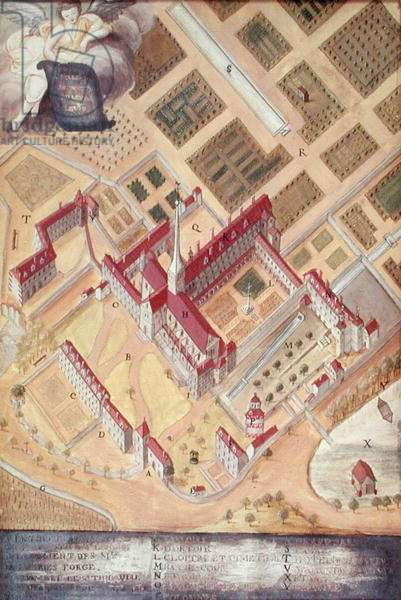 Perspective view of the Abbey, from 'l'Abbaye de Port-Royal', c.1710 (gouache on paper)