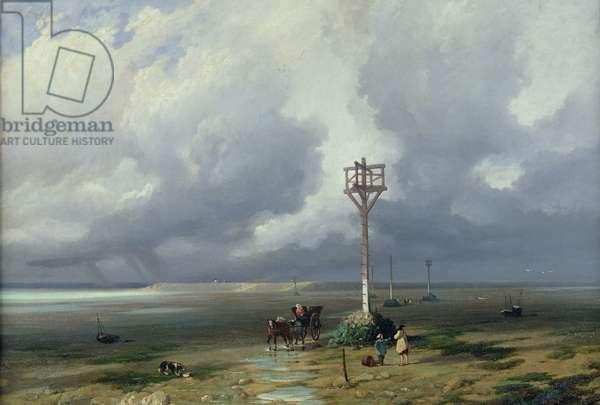 The Passage du Gois at Noirmoutier, 1859 (oil on canvas)
