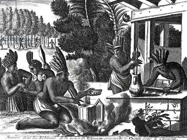 How the Natives of New Spain Prepared Cacao for Chocolate (engraving) (b/w photo)