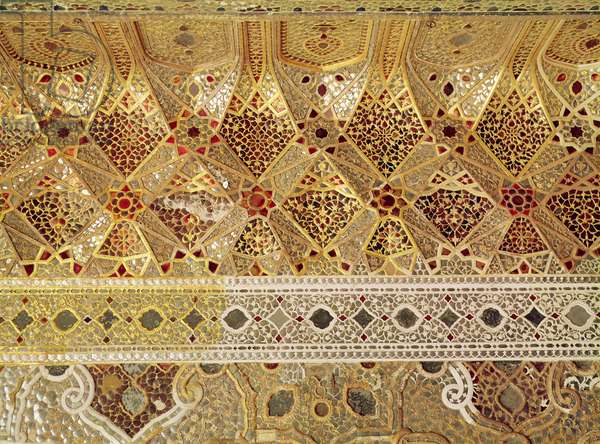 Detail of the Gallery of Mirrors, Sheesh Mahal, Lahore Fort, 1565 (marble & glass)