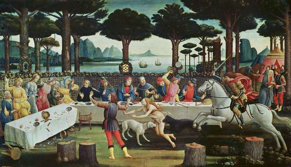 The Banquet in the Pinewoods: Scene III of The Story of Nastagio degli Onesti, c.1483 (tempera on panel)