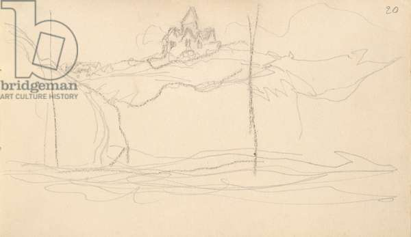 View of the Church in Varengeville from the sea (pencil on paper)