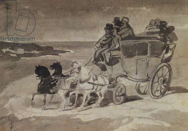 The Stagecoach (pencil & w/c on paper)