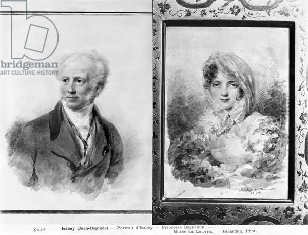 Self portrait and portrait of Princess Bagration, 1841 and 1812 (w/c on paper) (b/w photo)