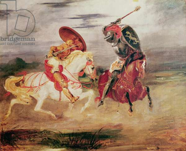 Two Knights Fighting in a Landscape, c.1824 (oil on canvas)