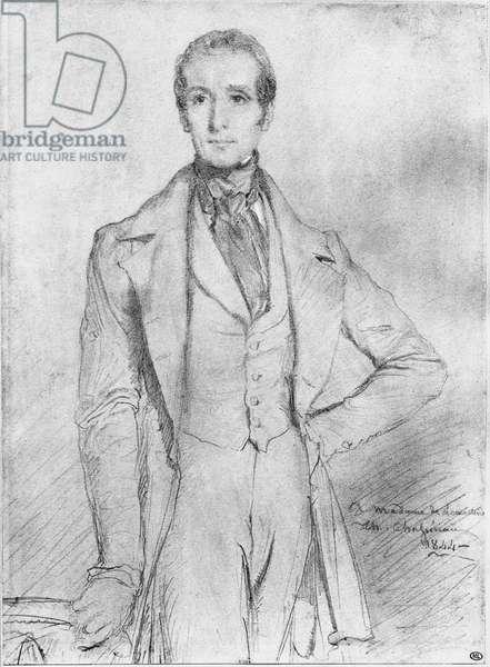 Portrait of Alphonse de Lamartine, 1844 (black lead & white highlights on beige paper)