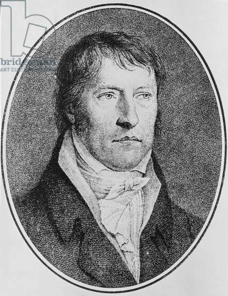 Portrait of Georg Wilhelm Friedrich Hegel (1770-1831), German philosopher, engraved c.1825 by F.W. Bollinger (1777-1825) (engraving)