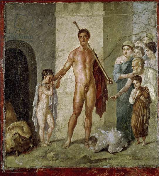 Theseus freeing children from the Minotaur, from the House of Gavius Rufus, Pompeii, 4th Pompeian style, c.50-79 AD (fresco)