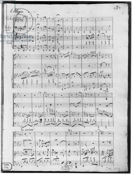 Score for trio for piano, violin and violoncello (pen & ink on paper)