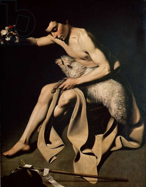 John the Baptist playing with a lamb, c.1608-10 (oil on canvas)